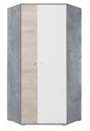 Rohová šatní skříň Omega - bílá/dub/beton