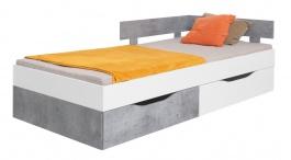 Studentská postel Omega 120x200cm s úložným prostorem - bílá/beton