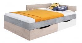 Studentská postel Omega 120x200cm s úložným prostorem - bílá/dub/beton