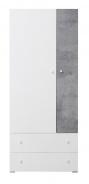 Šatní skříň Omega - bílá/beton