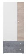 Šatní skříň Omega - bílá/dub/beton