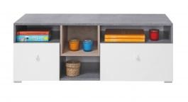 Televizní stolek Omega - bílá/dub/beton