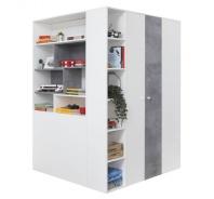 Velká šatní skříň Omega - bílá/beton