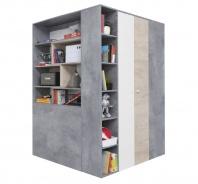 Velká šatní skříň Omega - bílá/dub/beton