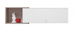 Závěsná police Omega I - bílá/dub/beton