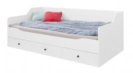 Dětská postel Bjorn 90x200cm s úložným prostorem, skandinávský styl - bílá