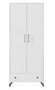 Šatní skříň Bjorn, skandinávský styl - bílá