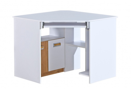 Rohový PC stůl Melisa - bílá/dub nash