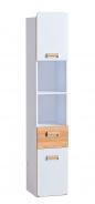 Vysoká kombinovaná skříň Melisa - bílá/dub nash