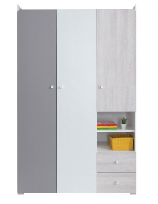 Třídveřová skříň Beta - bílá/dub wilton/šedá