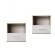 Noční stolek, 2 ks, dub sonoma / bílá, GABRIELA