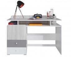 Psací stůl Beta - bílá/dub wilton/šedá