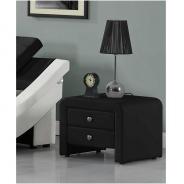 Noční stolek, ekokůže, černá, WILSON