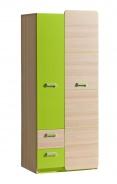 Dvoudveřová šatní skříň Melisa - jasan/zelená