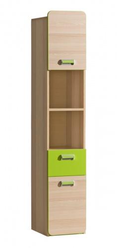 Vysoká kombinovaná skříň Melisa - jasan/zelená