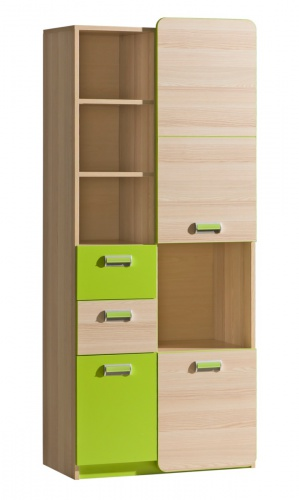 Kombinovaná skříň Melisa - jasan/zelená