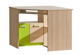 Rohový PC stůl Melisa  - jasan/zelená