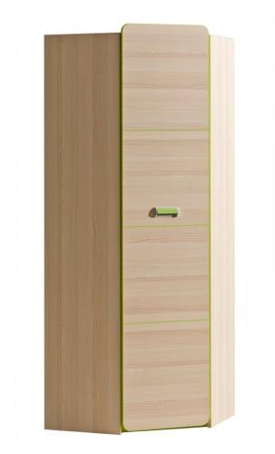 Rohová šatní skříň Melisa - jasan/zelená