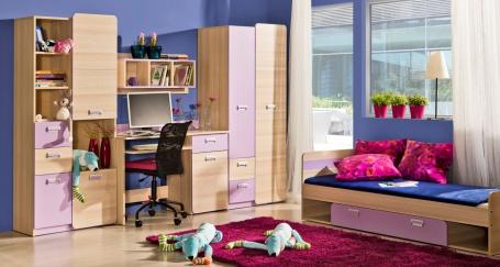Studentský pokoj Melisa I - jasan/fialová