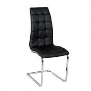 Jídelní židle, ekokůže černá / chrom, DULCIA