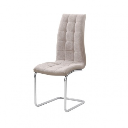 Jídelní židle, béžová látka / ekokůže béžová / chrom, SALOMA NEW