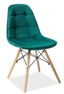 Jídelní židle AXEL III zelená aksamit/buk