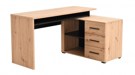 Psací stůl s kontejnerem Timmy - dub artisan/černá