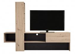 Moderní televizní stolek Timothea - dub šedý/černá