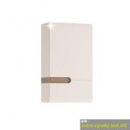 Skříňka horní, P provedení, bílá, extra vysoký lesk, LYNATET TYP 157