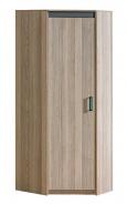 Rohová šatní skříň Groen - jasan/antracit