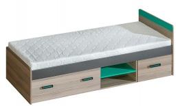 Dětská postel 80x195cm s úložným prostorem Groen - jasan/antracit/zelená