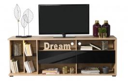 TV stolek se zásuvkami Orlando - dub artisan/černá