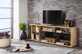 TV stolek se zásuvkami a osvětlením Orlando - dub artisan/černá