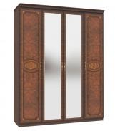 Čtyřdveřová šatní skříň Elizabeth se zrcadlem a korunkou - ořech