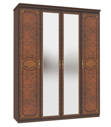 Čtyřdveřová šatní skříň se zrcadlem Elizabeth - ořech