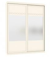 Šatní skřín s posuvnými dveřmi a zrcadlem Jasmine - krémová