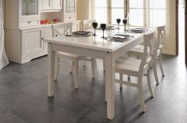 Rustikální jídelní stůl Lora - bílá