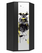 Rohová šatní skříň Hero - bílá/černá/žlutá
