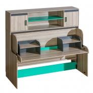 Multifunkční sklápěcí postel Groen se skříňkou a dvěma nástavci - jasan/antracit/zelená