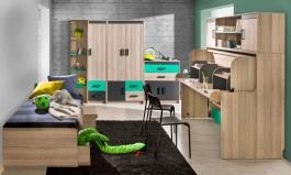 Pokoj pro dvě děti Groen - jasan/antracit/zelená