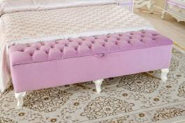 Čalouněná lavice Comtesa - alabastr/fialová