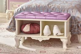Polstrovaná lavice Comtesa - alabastr/fialová