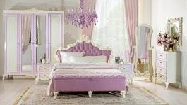 Ložnice Comtesa I - alabastr/fialová