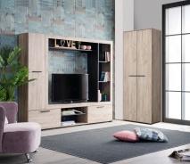 Televizní stěna Eman - dub šedý/eben