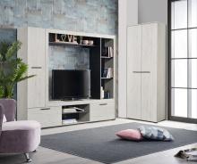 Televizní stěna Eman - dub bílý/eben