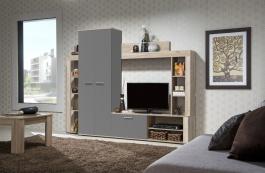 Obývací stěna Dolly - dub šedý/graphite