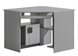 Rohový PC stůl Loki - bílá/antracit
