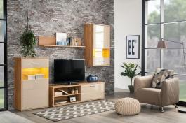 Obývací sestava s osvětlením Magnum - dub artisan/světle hnědá
