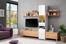 Obývací stěna Audrey - dub artisan/bílý lesk