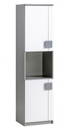 Úzká skříň Loki - bílá/antracit
